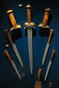 Knife handles recovered from the wreck of the Tudor warship Mary Rose are on display at the Mary Rose Museum in Portsmouth, Hampshire, southern England.