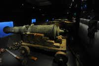 A detail cannon found on the wreck of the Tudor warship Mary Rose is on display at the Mary Rose Museum in Portsmouth, Hampshire, southern England.