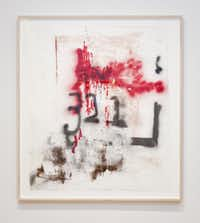 """Materials on Lapthisophon's """"Red"""" (2013) include spray paint, an oil stick, ink, pigmented bacon fat and pencil on paper."""