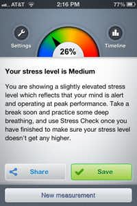 The app Stress Check measures heart rate variability in real time.