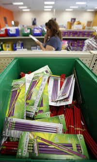 Packs of pencils are among the supplies that teachers can pick for their students.