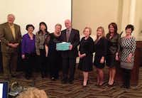 Past TexasFest chairs with Lucinda and Jim Rogers (holding blue box) at the Irving Healthcare Foundation's Annual Citizens Who Care DinnerDeborah Fleck