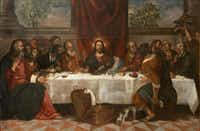 """Titian Vecellio and Workshop, """"The Last Supper,"""" c. 1550-1555. Oil on canvas.Courtesy  -  House of Alba Collection"""