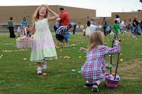 Rangeley Moyer, 5, easily filled her basket during St. Barnabas United Methodist Church's Easter egg hunt Sunday. When the church let it be known that Tuesday's twister had decimated its egg supply, donated eggs poured in -- so many that there were leftovers after Sunday's hunt.