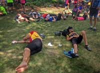 As the week wanes, crashing spots in the shade, such as here in Monroe, become very popular. The Register's Annual Great Bicycle Ride Across Iowa, or RAGBRAI, is a weeklong bicycle ride through the state sponsored by the Des Moines Register in July 2013.