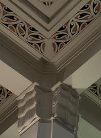 The ceiling of the art deco ASB Bank building, which sports curlicue Maori motifs, in Napier, New Zealand.
