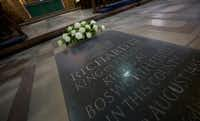 A plaque in remembrance of King Richard III lies in Leicesiter Cathedral.