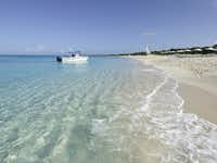 Private beach at the Amanyara Resorts in the Turks and Caicos Islands.