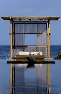Spa day bed at the Amanyara Resorts in the Turks and Caicos Islands.