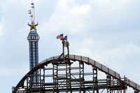 The Texas SkyScreamer, which opened this season, continued operating Saturday while the Texas Giant lay dormant.