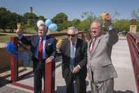 Thomas W. Keefe, President of the University of Dallas; Eugene Vilfordi; and Robert M.Galecke, UD Executive Vice President, raise a toast after a ribbon cutting for the Eugene Vilfordi Plaza at the University of Dallas.DMN file photo