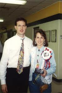 Kyle Morrill, then the coach of the TCA girls varsity basketball team, and Sue Morrill attend a state championship game in 1994. Though the team didn't win that year, Kyle Morrill led the school to a state victory in 2001.Photo submitted by KYLE MORRILL