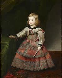 "Diego Rodriguez de Silva y Velasquez or Juan Bautista Mart nez del Mazo, ""Infanta Margarita,"" 1653.Courtesy  -  House of Alba Collection"
