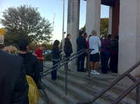 Voters wait to cast ballots Tuesday at Preston Hollow United Medodist Church.Robert Wilonsky