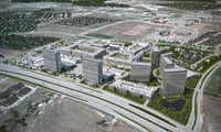 """A rendering reflects a vision of what Wade Park will be. Thomas Land & Development CEO Stan Thomas, who bought the property at the Dallas North Tollway and Lebanon Road this year, calls it """"the most exciting project in Texas.""""Thomas Land & Development"""
