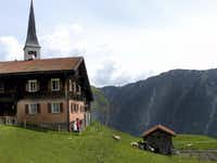 The Walser village called Tenna, is perched high above the lush Safien Valley in Switzerland.
