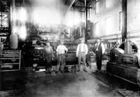 Workmen at White Rock Lake pump station in 1911.