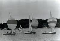 Sailboats on White Rock Lake, May 1969. The White Rock pump station was closed in 1964, and in 1965 Mockingbird Lane was extended over the north end of the lake to Buckner Boulevard.