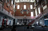 The large common area inside the old pump station was once a pump operating room.