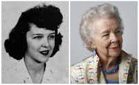 Jackie Wilder Paddock in her 1943 senior class picture and today.