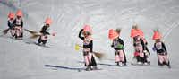 Participants ski in the 30th edition of the Belalp Witches Ski Race on January 14, 2012 in Belalp, Switzerland.
