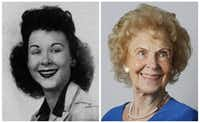 Doris Wyatt Simons in her 1943 senior class picture and today.