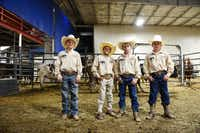 Superbull Junior team members (from left) Mason Spain, Garrett Gonzalez, Riggen Hughes and Brandon Rhodes are sharing the spotlight with the pros in an invitation-only competition for youth bull riders.