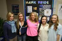 Hebron varsity cheerleader coach Danielle Weber (left) enjoyed an undefeated season with her competitive cheer team, whose members include senior Alysanne Buettner (second from left), junior Shanning Skoog, junior Alexis Preston and senior Lindsey Dodd. The team earned a long-awaited National Cheerleaders Association championship after falling short in previous years.Staff photo by DANIEL HOUSTON - neighborsgo