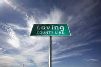The county line sign at the eastern line of Loving County on Texas Highway 302. According to the 2010 Census, the county boasts 82 residents, up from 67 in 2000.