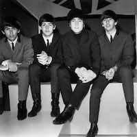 The Beatles, on Feb. 23, 1964, at the ABC Television Studios in Teddington.