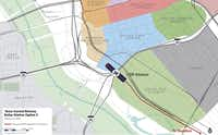 The second potential Dallas terminal site for Texas Central Railway's high-speed Dallas-to-Houston line straddles Interstate 30 and includes a portion of the first potential site along with property adjacent to the Kay Bailey Hutchison Convention Center.(Texas Central Railway - RTKL)