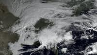 This Feb. 7 satellite image made available by NOAA shows storm systems covering most of the eastern half of the United States. A blizzard of potentially historic proportions was expected to strike the Northeast with a vengeance on Feb. 8, with up to 3 feet of snow feared along the densely populated Interstate 95 corridor from the New York City area to Boston and beyond.(The Associated Press - NOAA)