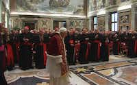 "In this image from video, Pope Benedict XVI enters to deliver his final greetings to the assembly of cardinals Thursday at the Vatican. Benedict urged the cardinals to work in unity and promised his ""unconditional reverence and obedience"" to his successor in a poignant and powerful farewell before he becomes the first pope in 600 years to resign.The Associated Press - Vatican TV"