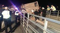 A cattle truck loaded with livestock overturned early Wednesday, shutting down the ramp from Highway 287 to northbound Interstate 35W in Fort Worth.(NBC5)