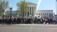 The crowd gathered in front of the Supreme Court today. (Michael Marks/staff)