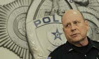 Garland police spokesman Joe Harn answers questions during a press conference Monday morning. Two men were killed Sunday when they opened fire, injuring a Garland ISD police officer, outside a contest for cartoons depicting the Muslim prophet Muhammad at Garland ISD's Culwell Center.Ron Baselice - Staff Photographer