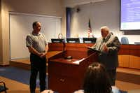 Mayor Patrick Davis said a few words at Tuesday's Highland Village City Council meeting while announcing the fire department had received a Heart Safe Community award.( Staff photo by DANIEL HOUSTON  - neighborsgo)