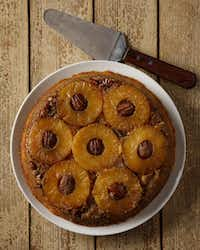 Pineapple Upside-Down Cornmeal Cake brings the meal to a memorable finish.Evans Caglage  -  Staff Photographer