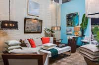 Julio Quinones  The Dallas designer created a coastal ambience in his space with shades of linen, aqua and pops of marine blue.Lance Selgo  -  Unique Exposure Photography