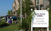 Prospective buyers lined up Tuesday to buy lots after camping overnight outside the business center at First Texas Homes' Prestwyck development in McKinney.(KXAS-TV - NBC5)