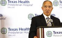 DISD superintendent Mike Miles speaks at a press conference Wednesday about the Ebola patient being treated at Texas Health Presbyterian Hospital. Five Dallas ISD students from four schools who may have had contact with the patient are being kept under observation.(Vernon Bryant - Staff Photographer)