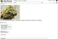 This frame grab from the Silk Road website shows a page for marijuana allegedly for sale through the site.(silkroaddrugs.org - The Associated Press)