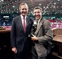 Vice President George H.W. Bush poses with his photographer David Valdez during the 1984 Republican National Convention in Dallas.