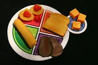 A sample plate for the new food icon shows appropriate portions of beef, fruit, cheese and vegetables.(Susan Walsh)