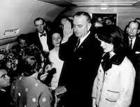 U.S. Rep. Jack Brooks (far right) looks on as as Vice President Lyndon B. Johnson takes the oath of office aboard Air Force One at Dallas Love Field following President John F. Kennedy's assassination on Nov. 22, 1963. Brooks, a Democrat who represented his Southeast Texas district from 1952-1994, died Tuesday at age 89.
