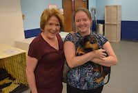 Cindy and Bryana McFarland with her dog Tank. McFarland was reunited with Tank in Austin 3 1/2 years after he vanished in Waco. (Austin Humane Society/Facebook)