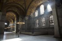 Inside the Hagia Sophia, there are signs of its Christian and Islamic past.