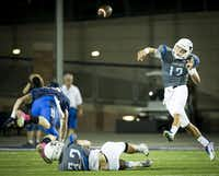 Hebron quarterback Clayton Tune (12) throws a pass during the first quarter of a high school football game against Allen at Eagle Stadium on Friday, Oct. 9, 2015, in Allen. (Smiley N. Pool/The Dallas Morning News)(The Dallas Morning News)