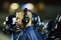 Allen head coach Tom Westerberg  watches from the sidelines during the second quarter of a high school football game against Hebron at Eagle Stadium on Friday, Oct. 9, 2015, in Allen. (Smiley N. Pool/The Dallas Morning News)(The Dallas Morning News)