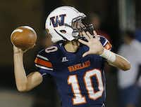 Frisco Wakeland senior quarterback Mason Doerr (10) throws to a receiver during the second half of a high school football game agaisnt Fraico at Toyota Stadium in Frisco, Friday, October 29, 2015. Frisco Wakeland won 21-13. (Brandon Wade/Special Contributor)